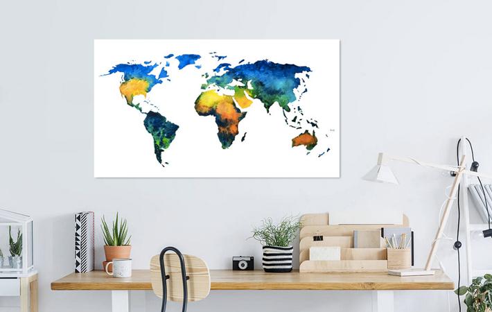 01 Kleurrijke Wereldkaart in Aquarel