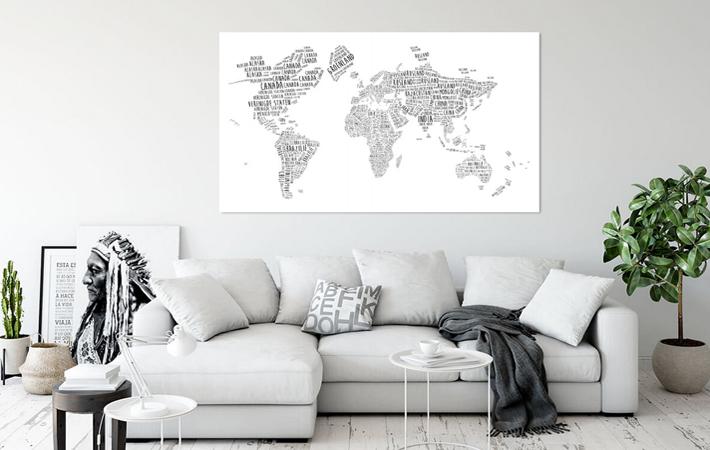 03 Wereldkaart Typografie Zwart op Wit