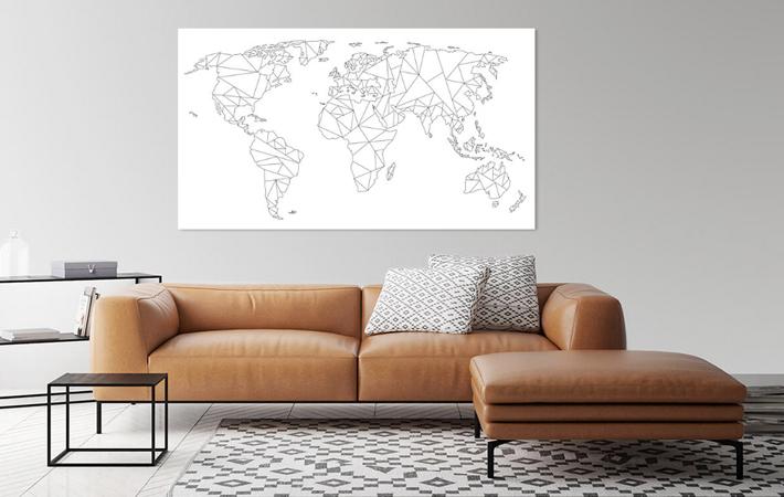 06 Geometrische Wereldkaart Zwart op Wit