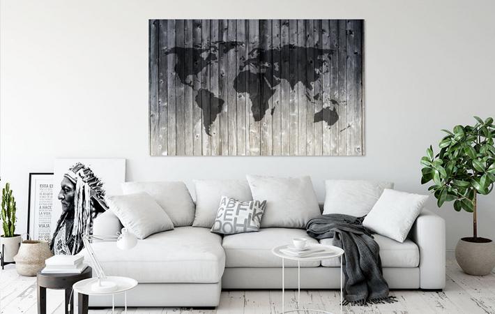 10 Wereldkaart op Houten planken