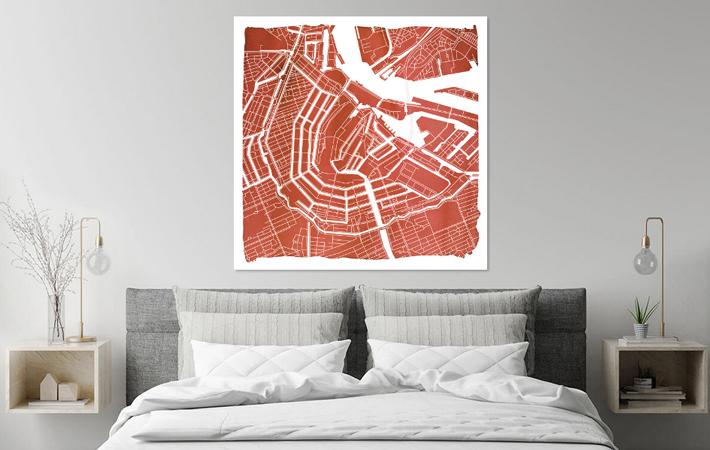 Amsterdam Grachtengordel | Stadskaart Rood | Vierkant met Witte kader