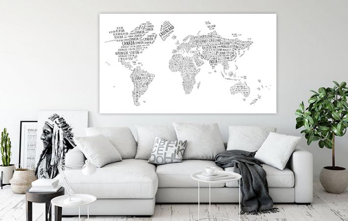 03 Wereldkaart - Typografie Zwart op Wit