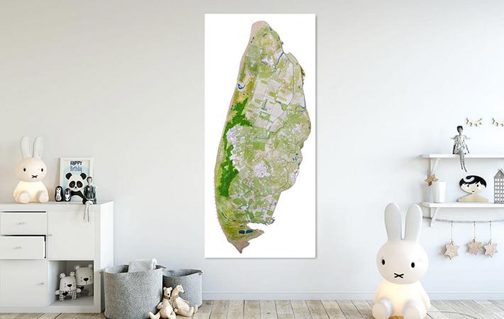02 Texel Landkaart in Aquarel wit