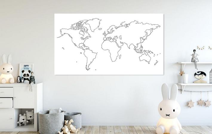 07 Wereldkaart Inkttekening