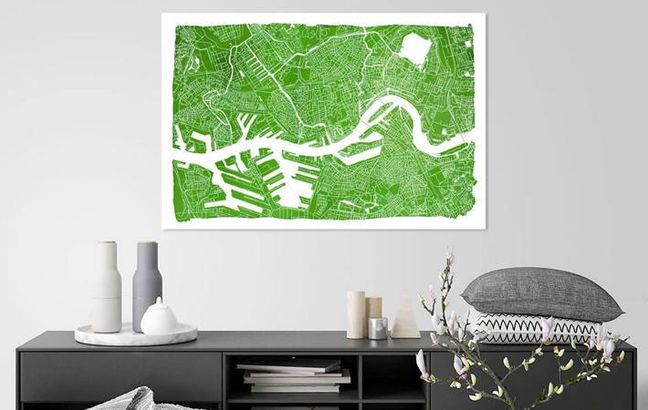 Rotterdam Groene Panorama Stadskaart in Aquarel met witte kader