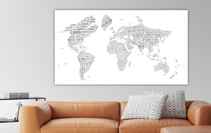 26 Engelstalige Typografische Wereldkaart