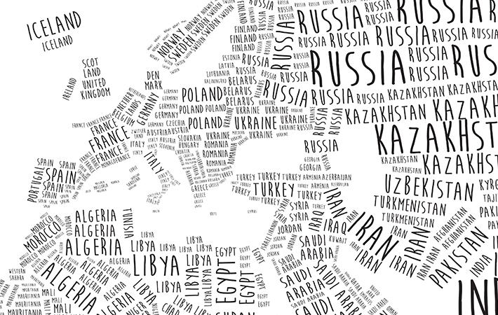 Engelstalige Typografische Wereldkaart CloseUp