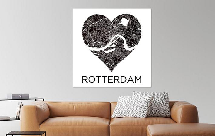 Rotterdam Stadskaart in hart ZwartWit