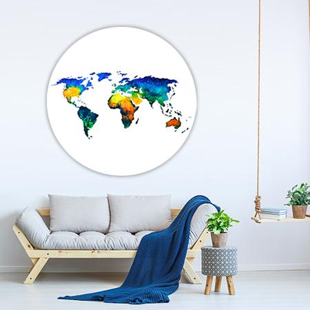 Wereldkaart Aquarel Wandcirkel