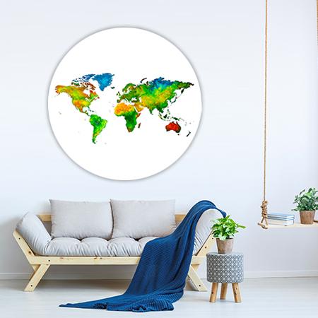 Wereldkaart Care Wandcirkel