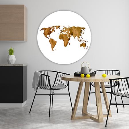 Wereldkaart Espresso Wandcirkel
