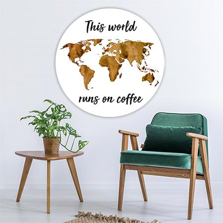 Wereldkaart Espresso met Quote Wandcirkel