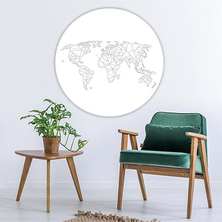 Wereldkaart Geometrisch Wandcirkel