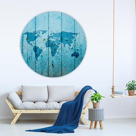 Wereldkaart Hout Blauw Wandcirkel