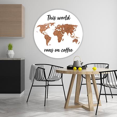 Wereldkaart Koffiebonen met Quote Wandcirkel