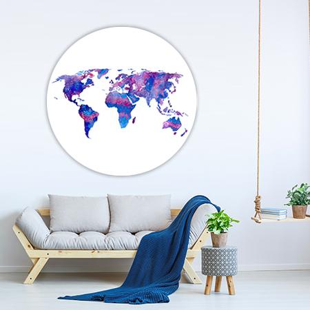 Wereldkaart Paars Wandcirkel
