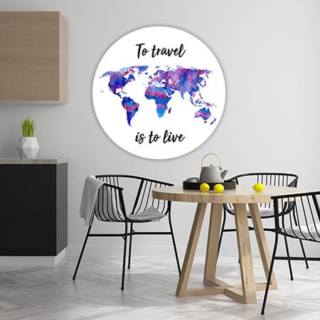 Wereldkaart Paars met Quote Wandcirkel