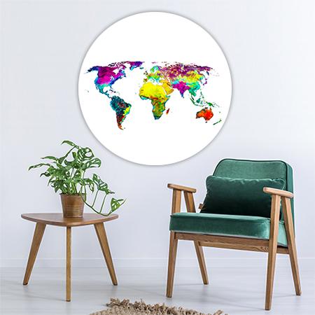 Wereldkaart Tropisch Wandcirkel