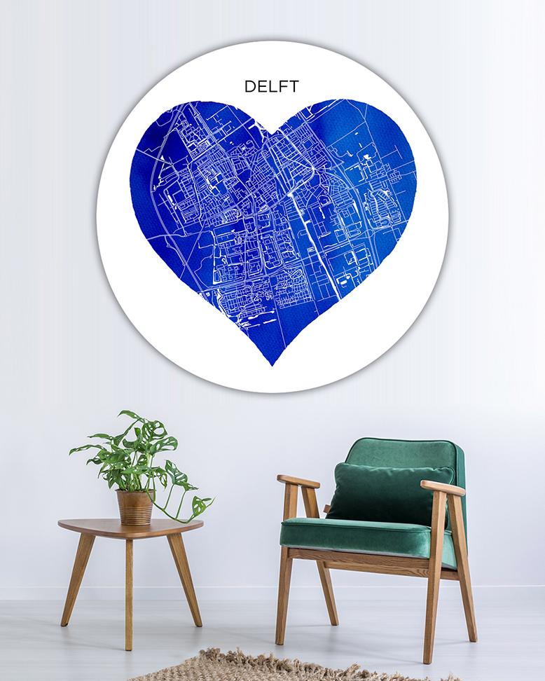120-04 Delft Hart Blauw Stadsnaam Wandcirkel_lr