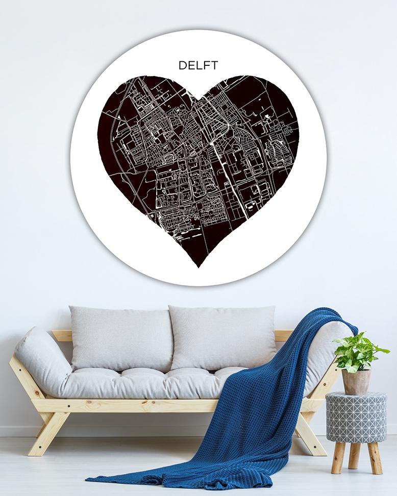 120-06 Delft Hart Zwart Stadsnaam Wandcirkel_lr