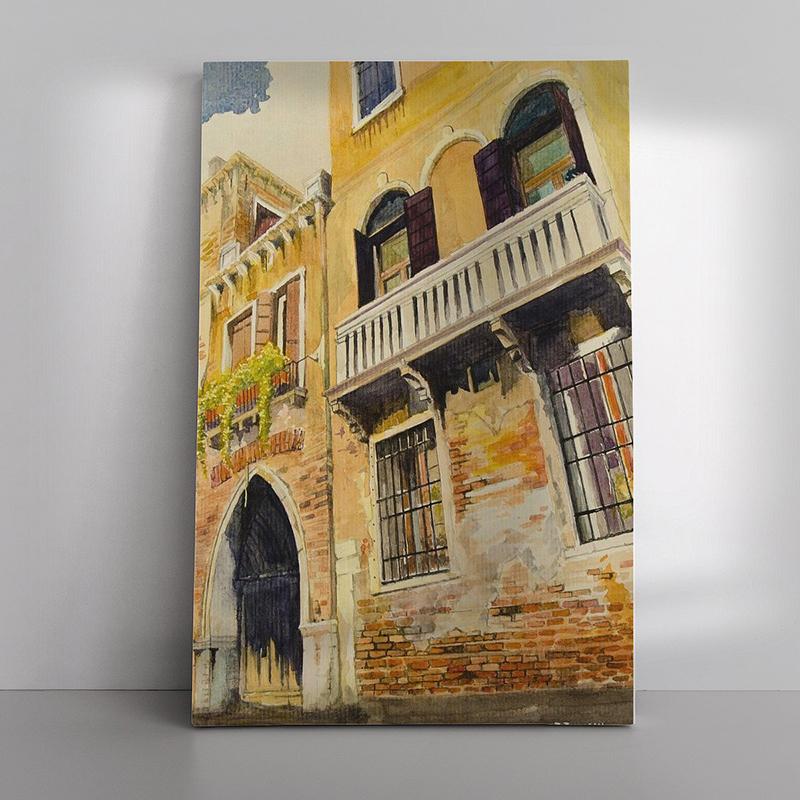 12 Balkon in Venetie als Canvas